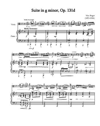 Регер - Сюита для альта с оркестром (переложение для фортепиано)